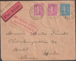 France 1928 Y&T 202 Et 205. Lettre Avec 2 Types Différents Du 75 C Semeuse Lignée, Lettre Aérienne Pour Berlin - 1903-60 Semeuse A Righe