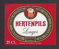 Etiquette De Bière Blonde  -  Hertenpils   -   Brasserie  De Solesmes à  Denain   (59) - Beer