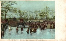 INDIA // INDE.  H.E. LADY CURZON CROSSING A NULLAH HYDERABAD TOUR - India