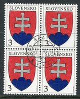 SLOVAKIA 1993 Definitive: Arms 3 Sk Block Of 4  Used.  Michel 163 - Usados