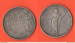 Milano 5 Lire 1848 Governo Provvisorio Monete Transitorie - Temporary Coins