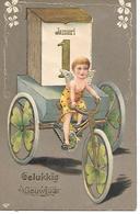Angel, Ange, Engel, Angelo, Tricycle, Dreirad, Kalender, Calender, Calendrier, January 1, Clover. Lovely Embossed Card - Nieuwjaar