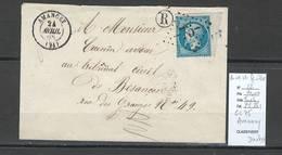 France - Lettre GC75 - Amancey - Doubs - Yver 22 Bord De Feuille -1868 - Marcofilia (sobres)