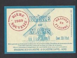 Etiquette De Bière De Mars 1989 -  Brasserie De Saint Sylvestre  à Saint Sylvestre Cappel (59) - Thème Moulin à Vent - Beer