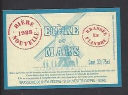 Etiquette De Bière Nouvelle 1988 -  Brasserie De Saint Sylvestre  à Saint Sylvestre Cappel (59) - Thème Moulin à Vent - Beer