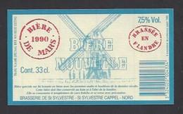 Etiquette De Bière De Mars 1990 -  Brasserie De Saint Sylvestre  à Saint Sylvestre Cappel (59) - Thème Moulin à Vent - Bier