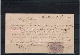 LCTN59/LE/5 - ITALIE EP CP UMBERTO I DIANO MARINA / LIVORNO 20/1/1890 TIMBRE FISCAL AU VERSO - 1878-00 Humbert I.
