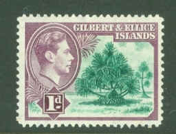 Gilbert & Ellice Islands: 1939/55   KGVI    SG44   1d      MH - Gilbert & Ellice Islands (...-1979)