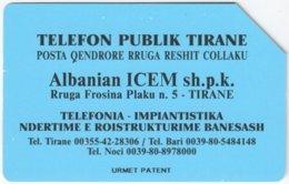 ALBANIA A-051 Magnetic Telekomi - Used - Albanie