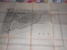 Carte Topographique NICE De Raymond 1860 - Cachet 43ème Régiment Artillerie Vincennes - Militaria - Mapas Topográficas