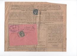 France - 1900- 1 C. Type Blanc,  Seul Sur Document X Par 2  ( Avis De Perception ) Utilisé En 1926/29 -  Yvert N°  107 - 1877-1920: Période Semi Moderne