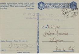MILITARI -A - POSTA MILITARE N°3200 - 6° REGGIMENTO GENIO - COMPAGNIA MARCONISTI DI ALTRE ARMI - Oorlog 1939-45