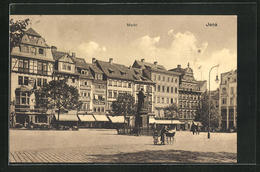 AK Jena, Denkmal Auf Dem Markt Mit Geschäften - Jena