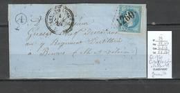 France - Lettre - Yvert 29 - GC1760 - T22 - Cussey Sur Oignon -Doubs + Facteur A De Geneuille - 1869 - Marcofilia (sobres)