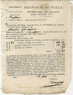 CONTE DE NICE .BONSON .CONTRIBUTIONS DIRECTES 1821 .MARTINI GIO MARIA - Historische Dokumente