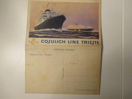 COSULICH LIne Trieste Cartolina Doppia Menù Motonave SATURNIA 3/9/1930 III Classe - Paquebots