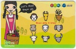 THAILAND C-338 Prepaid 1-2-call/AIS - Cartoon, Animals - Used - Thailand