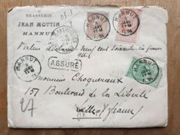 """Lettre  """" ASSURÉ """" Brasserie JEAN MOTTIN 966 Fr-   HANNUT  08/01/1894  - LILLE Nord - - Belgium"""