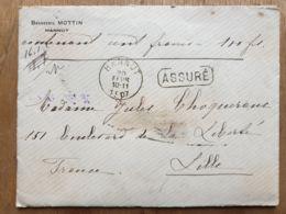 """Lettre  """" ASSURÉ """" Brasserie JEAN MOTTIN 100 Fr-   HANNUT  20/02/1907  - LANDEN  - LILLE Nord - - Belgium"""
