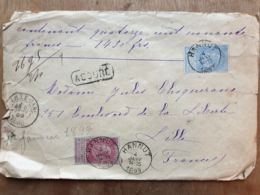 """Lettre  """" ASSURÉ  1490 Fr-   HANNUT  04/01/1899  - TIRLEMONT  - LILLE Nord - - Autres"""