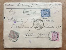 """Lettre  """" ASSURÉ  1082 Fr-   HANNUT  20/01/1890  - LILLE Nord - - Belgium"""