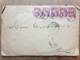 Léopold II Bloc De 5 Timbres 10 Rouge  Sur Enveloppe 1903 - 1893-1900 Thin Beard