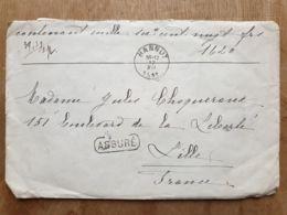 "Lettre  "" ASSURÉ  1620 Fr-   HANNUT  12/12/19119  - HUY   - LILLE Nord - - Belgium"