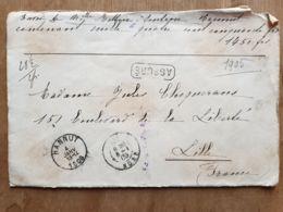 """Lettre  """" ASSURÉ  1450 Fr-   HANNUT  04/01/1905  - TIRLEMONT  - LILLE Nord - - Belgium"""
