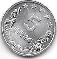 *albania 5 Qindarka 1969  Km 44  Bu - Albania