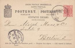 Finland UPU Postal Stationery Ganzsache Entier Kleines Staatswappen WASA 1899 BERLIN (Arr.) Germany - Finnland