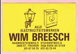 Sticker - Alle Electriciteitswerken WIM BREESCH - Naamsesteenweg Sint Truiden - Stevoortweg Herk De Stad - Autocollants