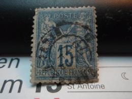 Timbre Sage 15 C Oblitéré. PARIS 1879 - 1876-1898 Sage (Type II)