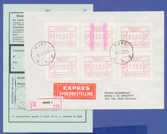 Belgien FRAMA-ATM P3047 ENDSTREIFEN-ATM Auf R-Express-Brief.  SEHR SELTEN ! - Postage Labels