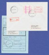 Belgien FRAMA-ATM P3038 ENDSTREIFEN-ATM Auf R-Brief.  SEHR SELTEN ! - Postage Labels