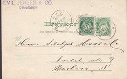 Norway Uprated Postal Stationery Ganzsache Entier EMIL JENSEN & Co., DRAMMEN 1910 BERLIN Germany (2 Scans) - Ganzsachen