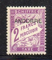 XP4690 - ANDORRA FRANCESE 1931,  Segnatasse 2 Franchi N. 7  ***  MNH (2380A) - Timbres-taxe