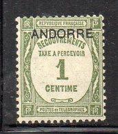 XP5022 - ANDORRA FRANCESE 1931,  Segnatasse 1 Cent N. 9  * Linguella (2380A) - Nuevos