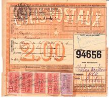CP 18 Et Bande De 4 X 25 Sur Bulletin D'expédition De Bazelat (Creuse), Gare La Chapelle-Baloue (1920) - Spoorwegzegels
