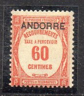 XP5024 - ANDORRA FRANCESE 1931,  Segnatasse 60 Cent N. 11  ** Gomma Stanca (2380A) - Ongebruikt