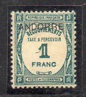 XP5030 - ANDORRA FRANCESE 1931,  Segnatasse 1 Franco N. 12  * Linguella (2380A) Difficile - Nuevos
