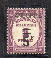 XP4685 - ANDORRA FRANCESE 1931,  Segnatasse 5 Su 1  Franco N. 15  ***  MNH (2380A)  RARO - Nuevos