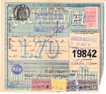 CP 15 X 2, 16, 22 Et 30 Sur Bulletin D'expédition  De Montfaucon-sur-Moine (Maine-et-Loire), Gare Boussay (1921) - Spoorwegzegels