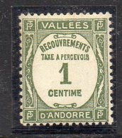 XP4684 - ANDORRA FRANCESE 1935,  Segnatasse  1 Cent N. 16  ***  MNH (2380A) - Nuovi