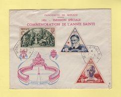 Monaco - 1951 - Commemoration Annee Sainte - Monaco Ville A - 4-6-1951 - Brieven En Documenten