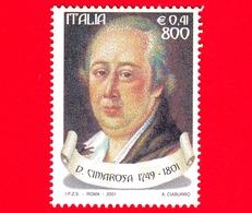 Nuovo - MNH - ITALIA - 2001 - Il Melodramma E Il Teatro Lirico  - 800 L. - 0,41 € • Ritratto Di Domenico Cimarosa - 6. 1946-.. Repubblica