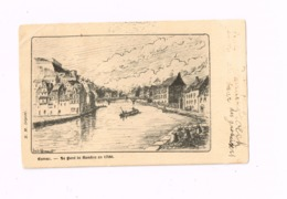 """Le Pont De Sambre En 1700.Expédié à Bruxelles. """"Offert Par La Pharmacie Derneville à Bruxelles"""" - Namur"""
