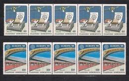 Gréce Greece CEPT 1988 Strip 5 Séries Yvertn° 1667 Avec N° 25 Au Verso , 1668 Avec N° 15  *** MNH Cote ++ 75,00 Euro - 1988