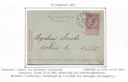CL35/ CL 10 C FB C.Relais - Etoile Zonhoven 12 AOUT 13-14 1901 > Exel C.Wychmael (Limbourg) C.d'arrivée - Poststempel