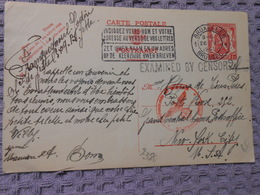 Cp Pour New-york Censure Censor 1941 - Entiers Postaux