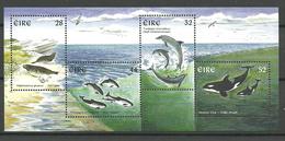 Ireland 1997 Marine Mammals, Killer Whale, Bottlenose Dolphin, Grey Seal, Harbour Porpoise, Mi Bloc 22 MNH(**) - 1949-... République D'Irlande